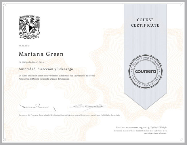 certificado coursera liderazgo